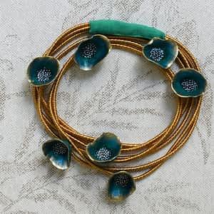 Nadeen Art Necklace Πράσινο Χρυσό