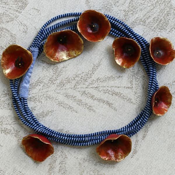 Nadeen Art Necklace Κόκκινο Μπλε