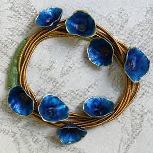 Nadeen Art Necklace Μπλε Χρυσό