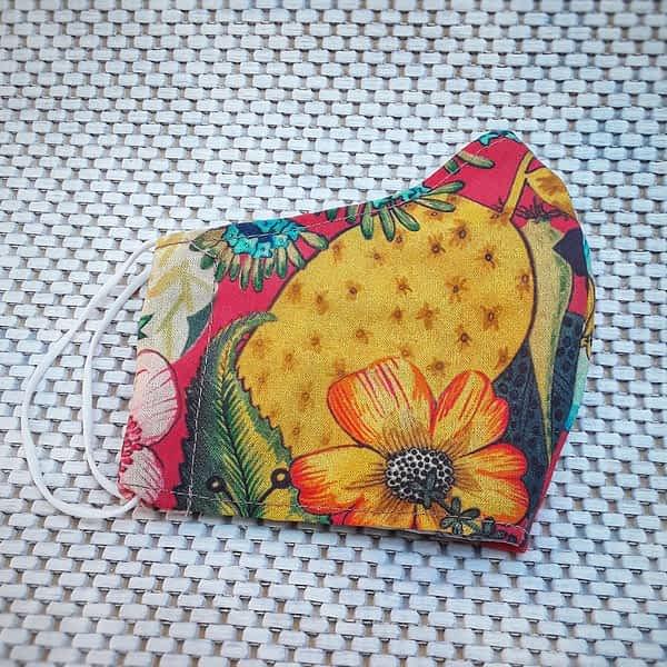 Nadeen art Υφασμάτινη Μάσκα Προστασίας Ενηλίκων Λουλούδια Πορτοκαλί